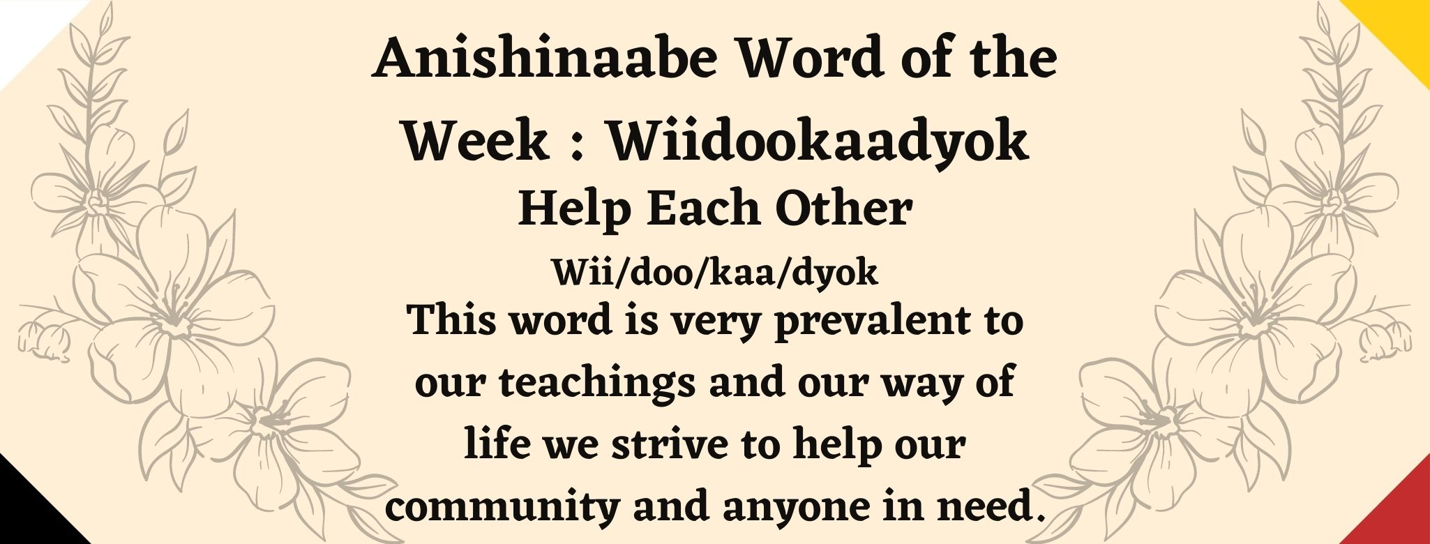 Anishinabe word of the week Wiidookaadyok